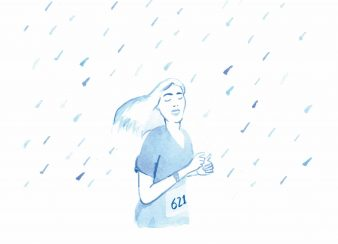 corrida de rua mulher correndo na chuva